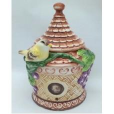 """Банка для сыпучих продуктов ,Домики керамика, 600мл, """"Виноградная лоза"""""""