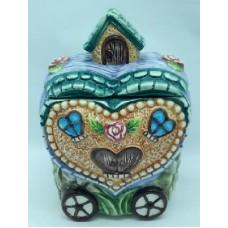"Банка для сыпучих продуктов, Домики керамика, 600мл, ""Домик-сердце"""