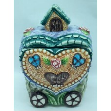"Банка для сыпучих продуктов, Домики керамика, 300мл, ""Домик-сердце"""