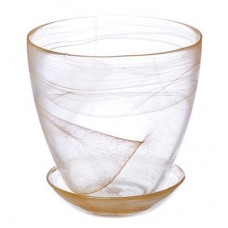 Горшок с поддоном, стекло, 0,85л, №2 93-025 алеб.беж.