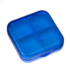 Бокс для таблеток, пластик, 4 ячейки, 6,5х6,5см, 3 цвета