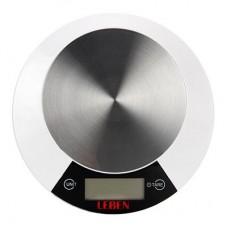 Весы кухонные электронные, металл.платформа, макс.нагрузка до 5кг, питание CR2032, арт.RF5 LEBEN