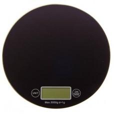 Весы кухонные, электрон. дисп, стекл.платф, макс.нагр.до 5кг (точн.измер. 1 гр) d18,5см