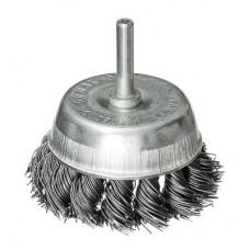Щетка металл. со шпилькой для дрели 75мм, крученая (чашка)