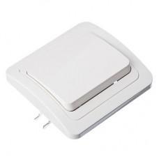 Выключатель одноклавишный, цвет белый 10А 250В, огнеупорный пластик Классика FORZA