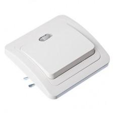 Выключатель одноклавишный, с подсветкой, цвет белый 10А 250В, огнеупорный пластик FORZA Классика