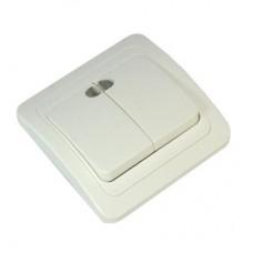 Выключатель двухклавишный, с подсветкой, цвет белый 10А 250В, огнеупорный пластик Классика FORZA