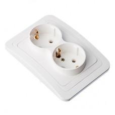 Розетка двухместная, с заземлением, цвет белый 16А 250В, огнеупорный пластик Классика FORZA