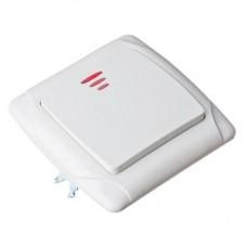 Выключатель одноклавишный, с подсветкой, цвет белый 10А 250В Кристалл FORZA