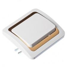 Выключатель одноклавишный, белый с золот. вставкой 10А 250В, огнеуп. пластик Золотая коллекция FORZA