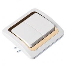 Выключатель двухклавишный, бел. с золотой вставкой 10А 250В, огнеуп. пластик Золотая коллекция FORZA