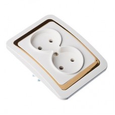 Розетка двухмест, без заземл, бел с золот вставкой 16А 250В, огнеуп. пластик Золотая коллекция FORZA
