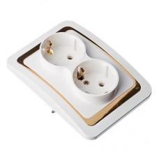 Розетка двухмест., с заземл, бел с золот. вставкой 16А 250В огнеуп. пластик Золотая коллекция FORZA