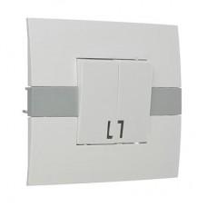 Выключатель двухклавишный с подсветкой цвет белый 10А 250В, пластик ABS МОДЕРН FORZA